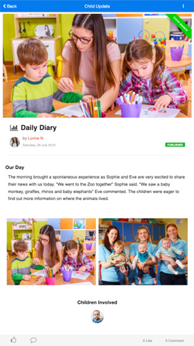daily child care activity reports