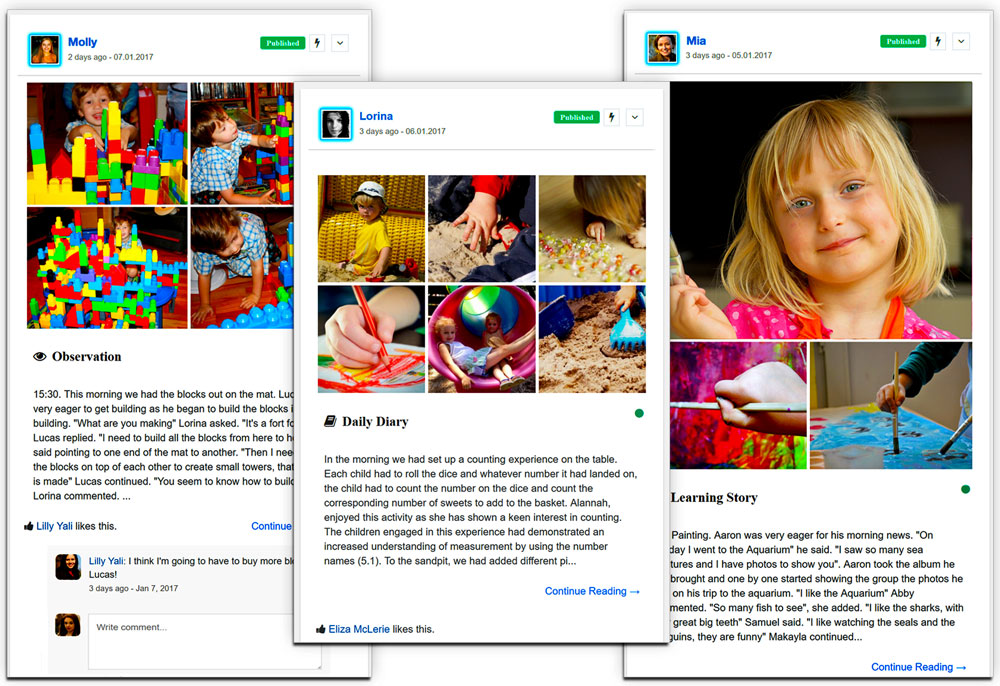 daycare app timeline
